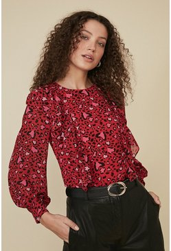 Red Heart Ruffle Front Blouse