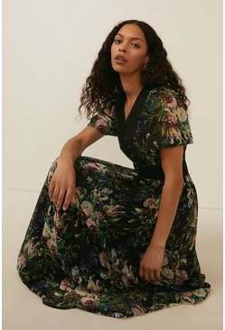 Black Floral Printed Dobby Chiffon Midi Dress