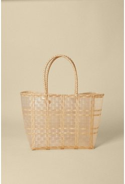 Natural Cross Hatch Straw Shopper Bag