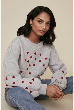 Grey marl Embroidered Heart Sweatshirt