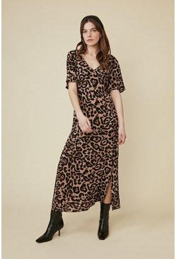 Animal Flute Sleeve Midi Dress