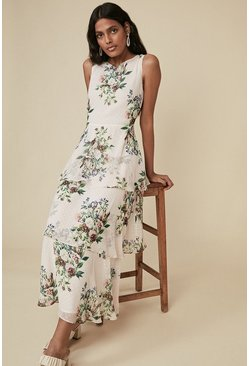 Cream Floral Printed Layered Midi Dress