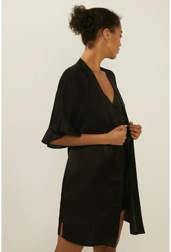 Black Frilled Satin Robe