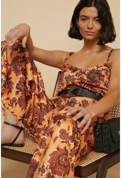 Multi Tropical Print Wide Leg Jumpsuit