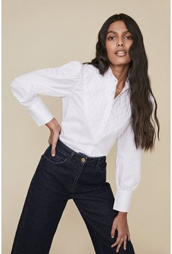 White Quilted Cotton Poplin Shirt