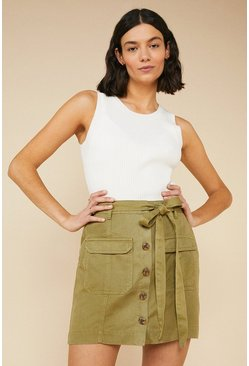 Khaki Tie Waist Mini Skirt