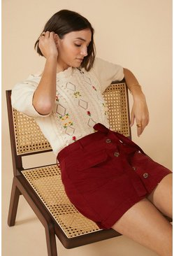 Rust Tie Waist Mini Skirt