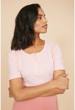 Pink Rib Henley Top