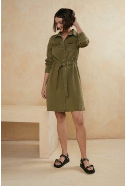 Khaki Belted Shirt Mini Dress