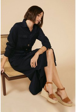 Navy Belted Shirt Midi Dress