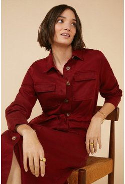 Rust Belted Shirt Midi Dress
