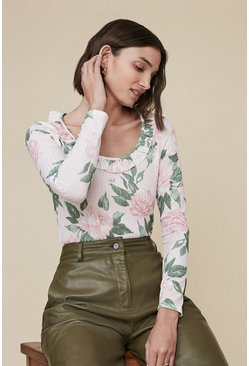 Pink Floral Rib Ruffle Scoop Neck Top