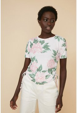 Pink Floral Rib Ruched Side T Shirt