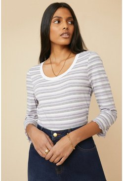 Grey Stripe Rib Lettuce Edge Scoop Neck Top