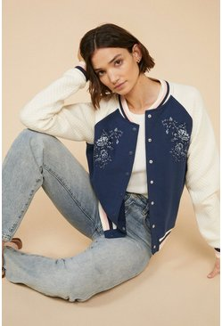 Navy Embroidered Jersey Bomber Jacket