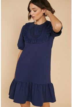 Navy Lace Trim Bib Drop Waist Dress