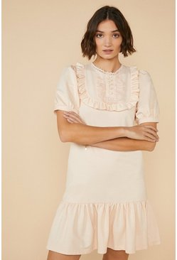 Oatmeal Lace Trim Bib Drop Waist Dress