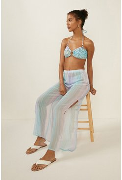 Blue Ombre Chiffon Beach Trouser