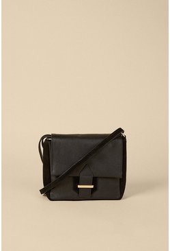 Black Suede And Leather Buckle Cross Body Bag
