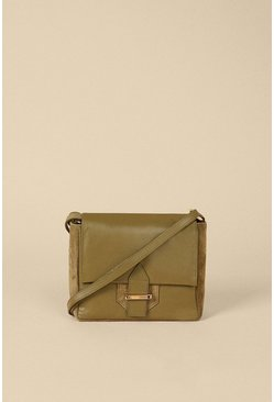 Khaki Suede And Leather Buckle Cross Body Bag