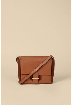 Tan Suede And Leather Buckle Cross Body Bag