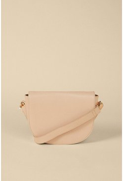 Beige Half Moon Leather Cross Body Bag