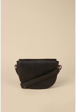 Black Half Moon Leather Cross Body Bag