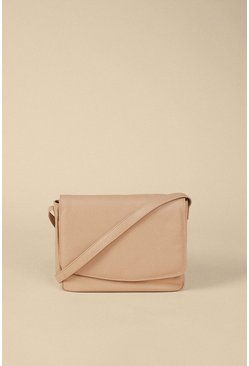 Beige Fold Over Leather Cross Body Bag