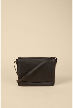 Black Fold Over Leather Cross Body Bag