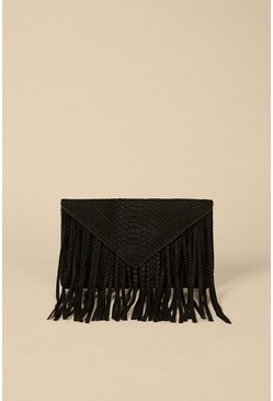 Black Suede Fringed Embossed Cross Body Clutch
