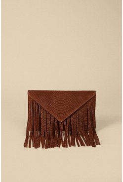 Tan Suede Fringed Embossed Cross Body Clutch