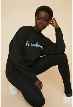 Black Le Weekend Sweat And Legging Set