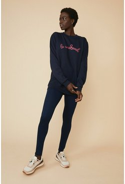 Navy Le Weekend Sweat And Legging Set