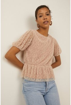 Pink Flocked Pleated Mesh Top