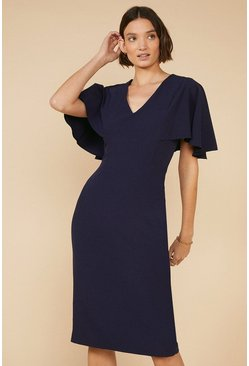 Dark navy Midi Cape Dress