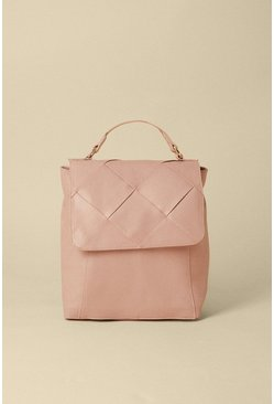Pale pink Woven Fold Over Backpack