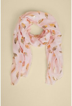 Baby pink Foil Feather Lightweight Scarf