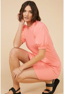 Pink Short Puff Sleeve Sweatdress