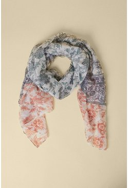 Multi Paisley Boarder Lightweight Scarf