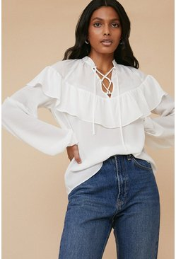 Ivory Lace Up Frill Detail Blouse