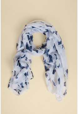 Navy Butterfly Lightweight Scarf