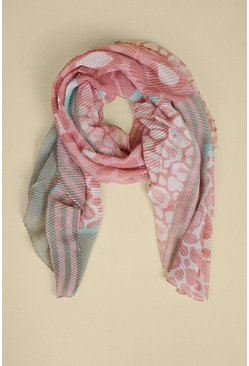 Pink Animal Crinkle Colour Block Lightweight Scarf