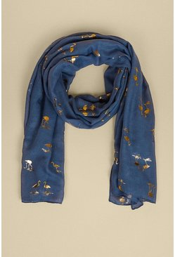 Navy Foil Flamingo Lightweight Scarf