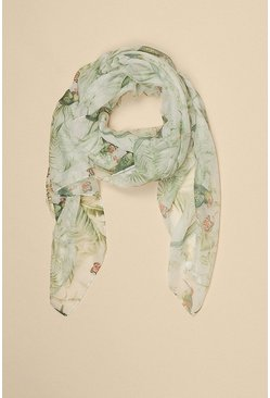 Cream Floral Parrot Lightweight Scarf