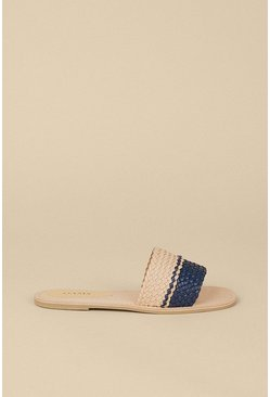 Navy Leather Woven 2 Tone Slider