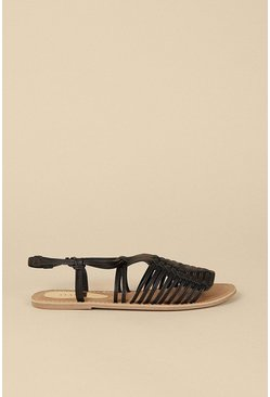 Black Leather Strappy Sandal