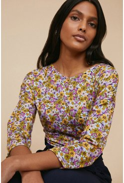 Multi Recycled Floral Drop Sleeve Top