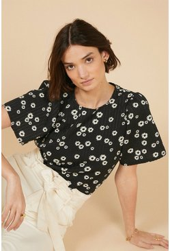 Black Daisy Textured T-Shirt