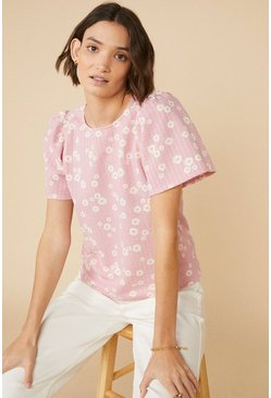 Pink Daisy Textured T-Shirt