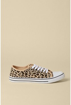 Animal Leopard Print Canvas Trainer